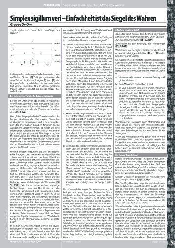 Simplex sigillum veri - Einfachheit ist das Siegel ... - Internetloge.de