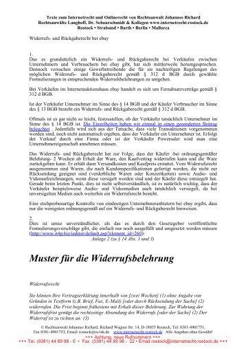 muster fr die widerrufsbelehrung internetrecht rostock - Widerrufsbelehrung Muster