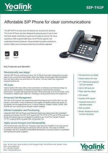 Yealink SIP-T41P Datasheet - Cheap Voip Phones