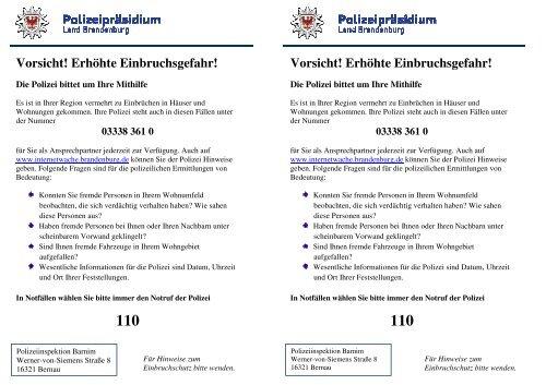 Flyer Pi Barnim Applicationpdf 2570 Kb Polizei Brandenburg