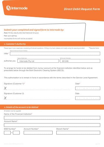 Exetel Direct Debit Request Form