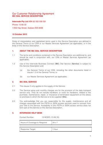 Customer Relationship Agreement Internode