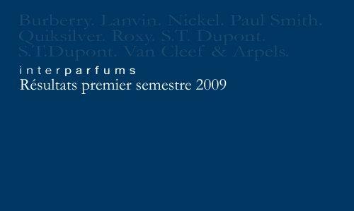 Résultats premier semestre 2009 - Interparfums