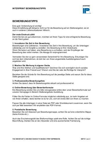 bewerbungstipps homepage interprint - Bewerbungs Tipps