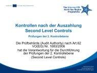 Second Level Controls - Prüfungen der 2 ... - Interreg-Nordsee