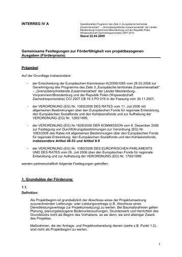 INTERREG IV A Gemeinsame Festlegungen zur Förderfähigkeit von ...