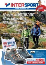 40 éves az INTERSPORT 40 év tapasztalat 40 % kedvezmény