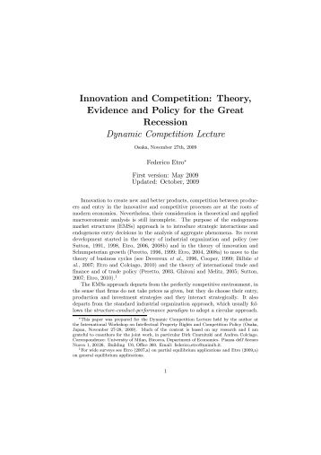 Innovation and Competition: Theory, Evidence and Policy ... - Intertic