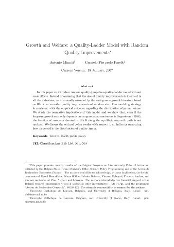 Growth and Welfare: a Quality-Ladder Model with Random ... - Intertic