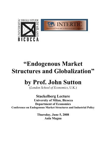 """Endogenous Market Structures and Globalization"" by Prof ... - Intertic"