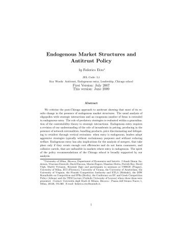 Endogenous Market Structures and Antitrust Policy - Intertic