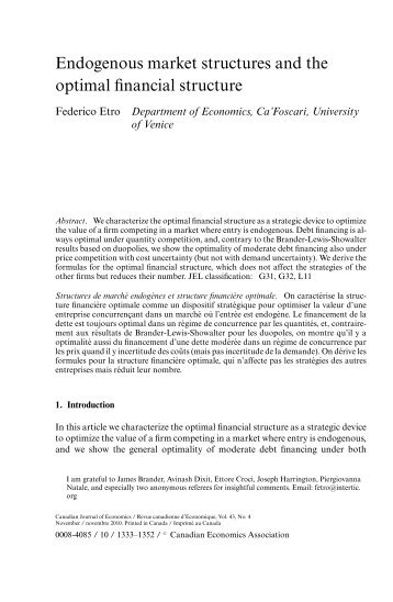 Endogenous Market Structures and the Optimal Financial ... - Intertic
