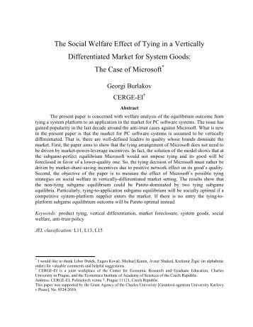 The Social Welfare Effect of Tying in a Vertically ... - Intertic