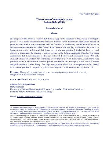 Sources of monopoly power, Microeconomics