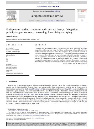 Endogenous market structures and contract theory ... - Intertic