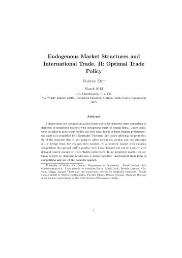 Endogenous Market Structures and International Trade. II ... - Intertic