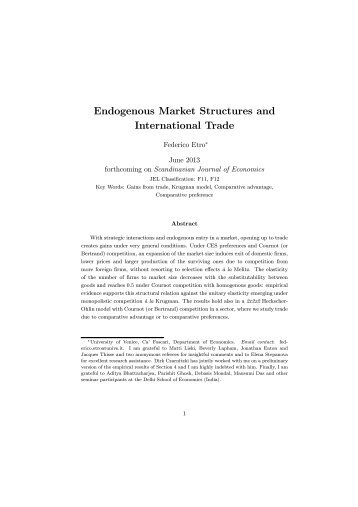Federico Etro Endogenous Market Structures and International Trade. I