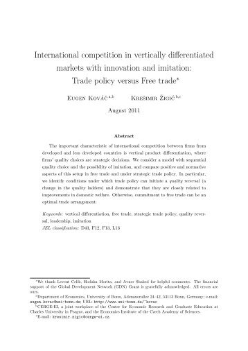 International competition in vertically differentiated markets ... - Intertic