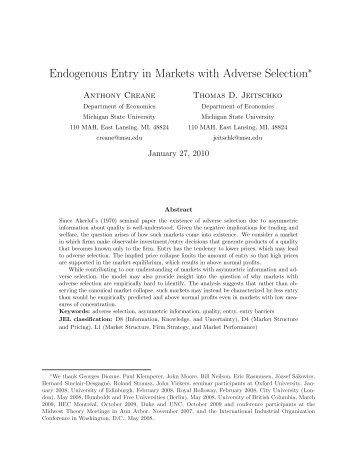 Endogenous Entry in Markets with Adverse Selection∗ - Intertic