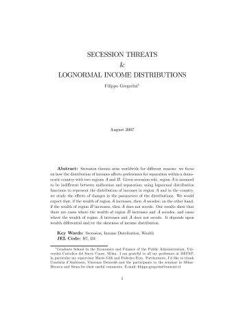 secession threats & lognormal income distributions - Intertic