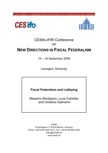 Fiscal Federalism and Lobbying - CESifo