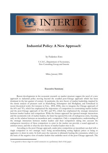 Industrial Policy: A New Approach* - Intertic