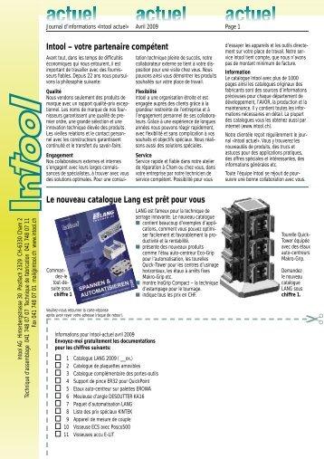 Intool – votre partenaire compétent Le nouveau ... - Intool AG