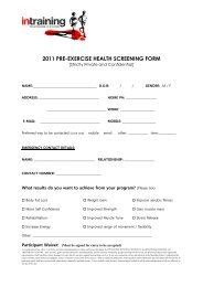2011 PRE-EXERCISE HEALTH SCREENING FORM - Intraining