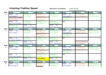 Download our training session timetable - Intraining