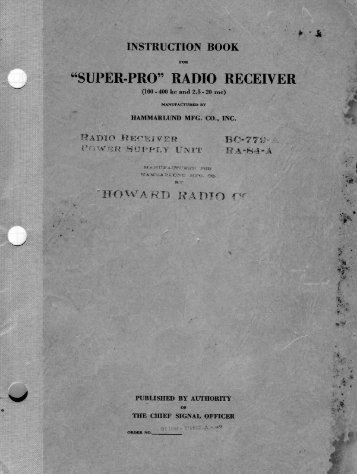 Download Hammarlund SUPER-PRO Radio Receiver ... - Introni.it