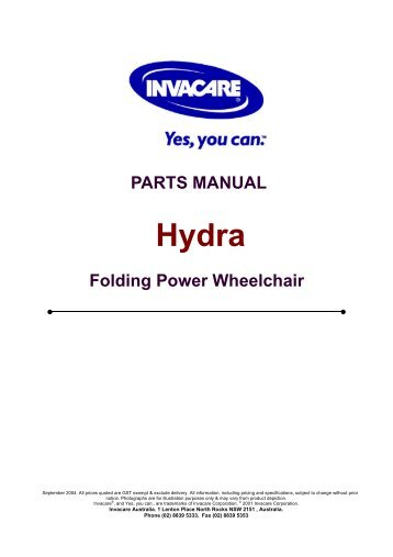 PARTS MANUAL Folding Power Wheelchair - Invacare Australia