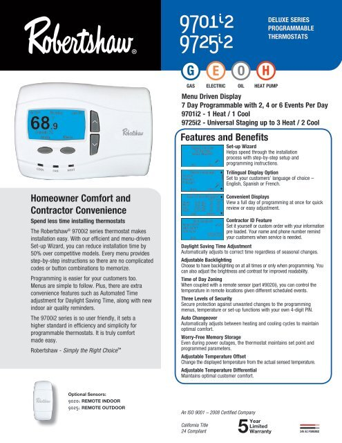robert shaw thermostat wiring diagram 9701i2 and 9725i2 deluxe programmable robertshaw thermostats  9701i2 and 9725i2 deluxe programmable