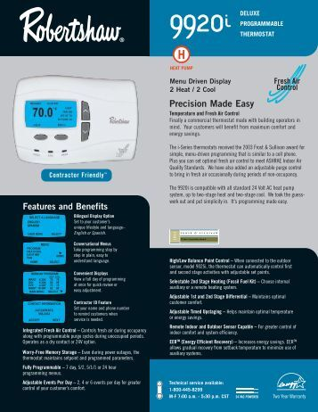 9920i Programmable - Robertshaw Thermostats