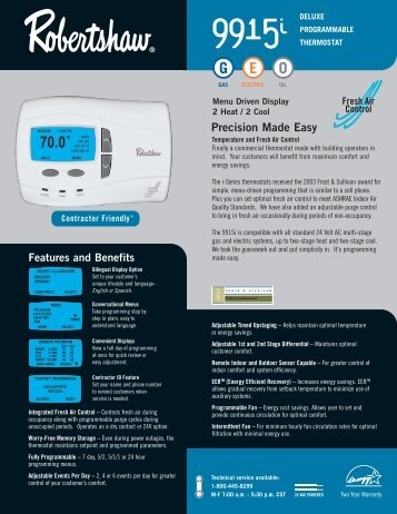 9915i Programmable - Robertshaw Thermostats
