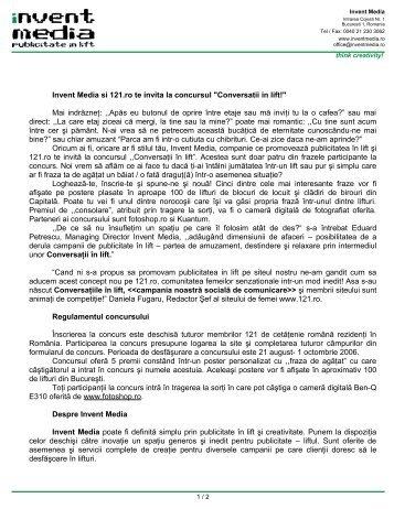 """Invent Media si 121.ro te invita la concursul """"Conversatii in lift!"""" Mai ..."""