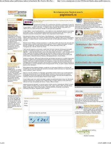 Invent Media aduce publicitatea indoor in hotelurile Ibis Nord si Ibis ...