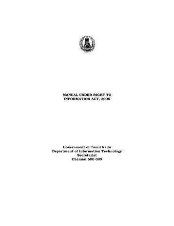 MANUAL UNDER RIGHT TO INFORMATION ACT, 2005 ...