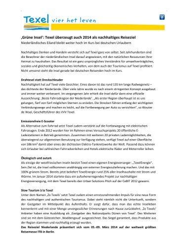 """""""Grüne Insel"""": Texel überzeugt auch 2014 als nachhaltiges Reiseziel"""