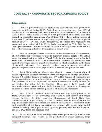 contract and corporate farming Contract farming initiatives in karnataka slno crop company 1 ashwaganda  himalaya healthcare ltd 2 dhavana mysore snc oil company.