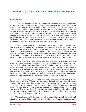 contract/ corporate sector farming policy - Guidance Bureau