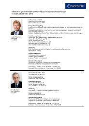 Information om föreslagen styrelse - Investor