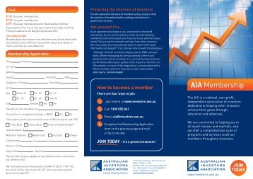 Download Membership Brochure - Australian Investors Association
