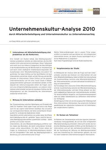 Unternehmenskultur-Analyse 2010 - Deep White