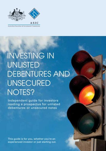 reading a prospectus for unlisted debentures or unsecured notes