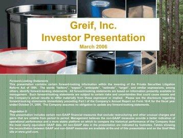 Greif, Inc. Investor Presentation - InvestQuest