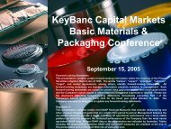 KeyBanc Capital Markets Basic Materials & Packaging ... - InvestQuest