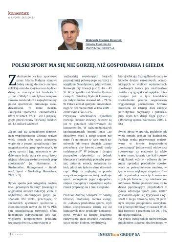 Polski sport ma się nie gorzej, niż gospodarka i giełda - Inwest ...