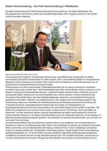 Baden Hausverwaltung - die Profi-Hausverwaltung in Mittelbaden