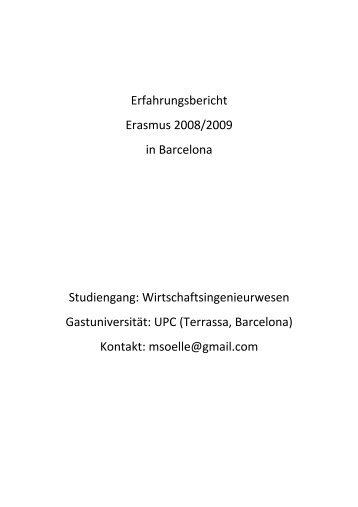 Erfahrungsbericht Erasmus 2008/2009 in Barcelona Studiengang ...
