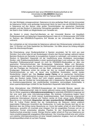 1 Erfahrungsbericht über einen ERASMUS-Studienaufenthalt an der ...